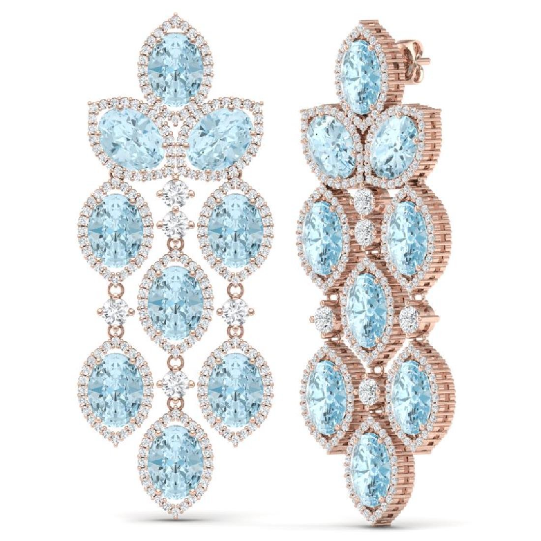 23.76 CTW Royalty Sky Topaz & VS Diamond Earrings 18K - 3