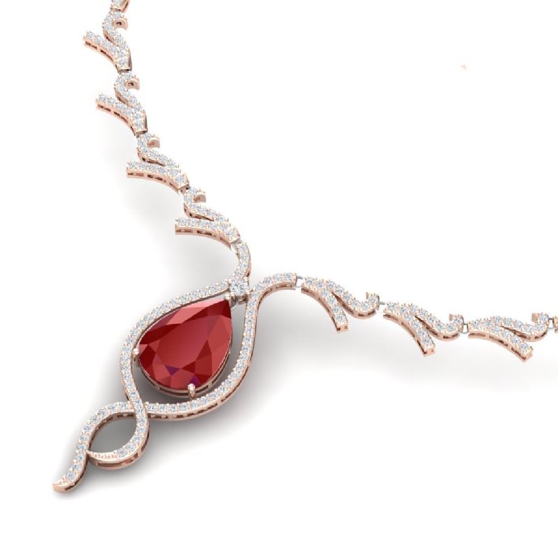 23.43 CTW Royalty Ruby & VS Diamond Necklace 18K Rose - 2