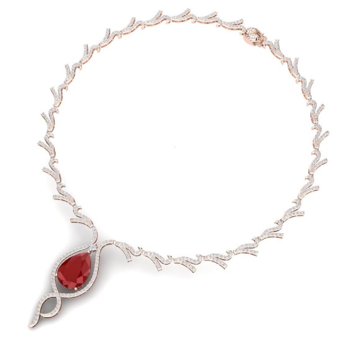 23.43 CTW Royalty Ruby & VS Diamond Necklace 18K Rose - 3