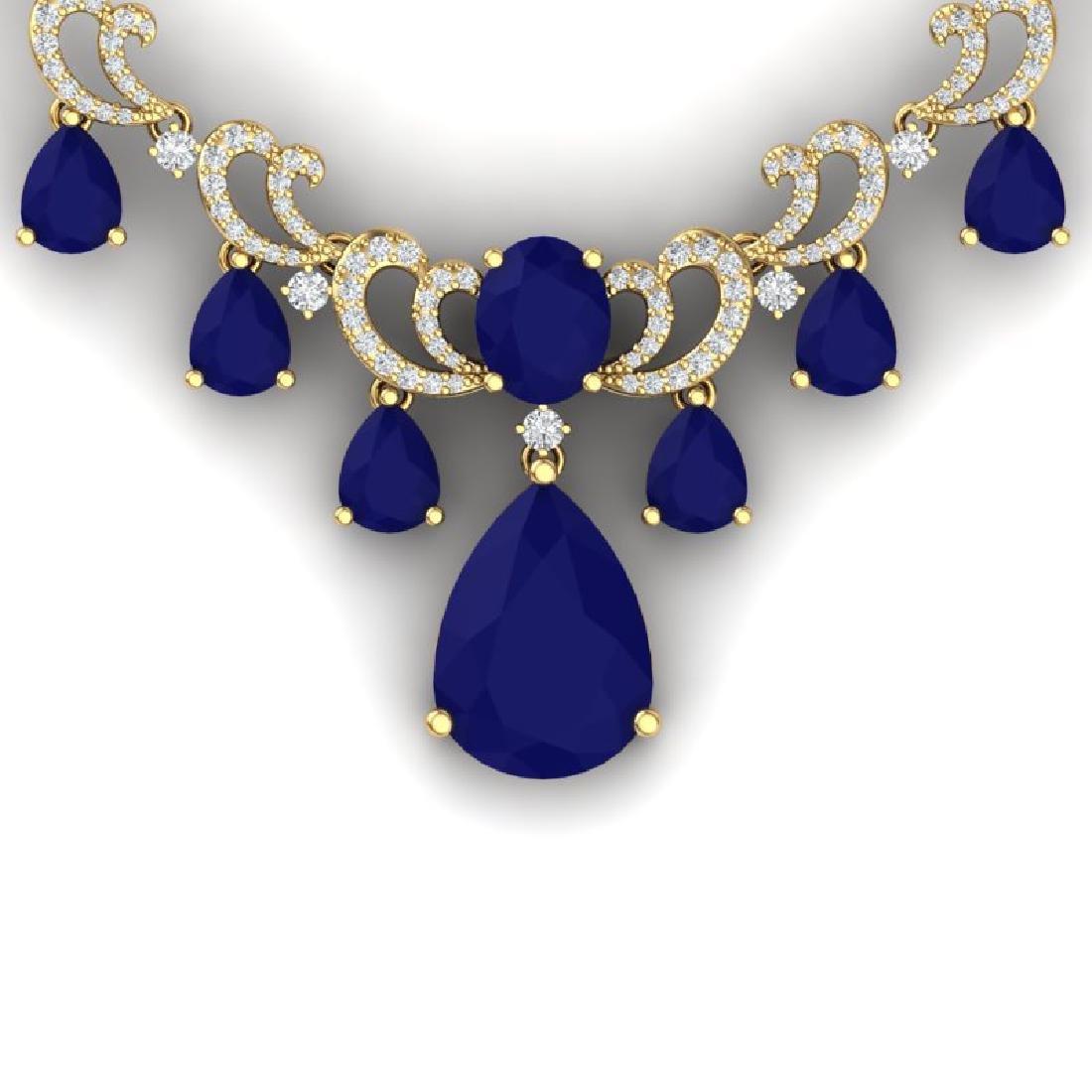 36.85 CTW Royalty Sapphire & VS Diamond Necklace 18K