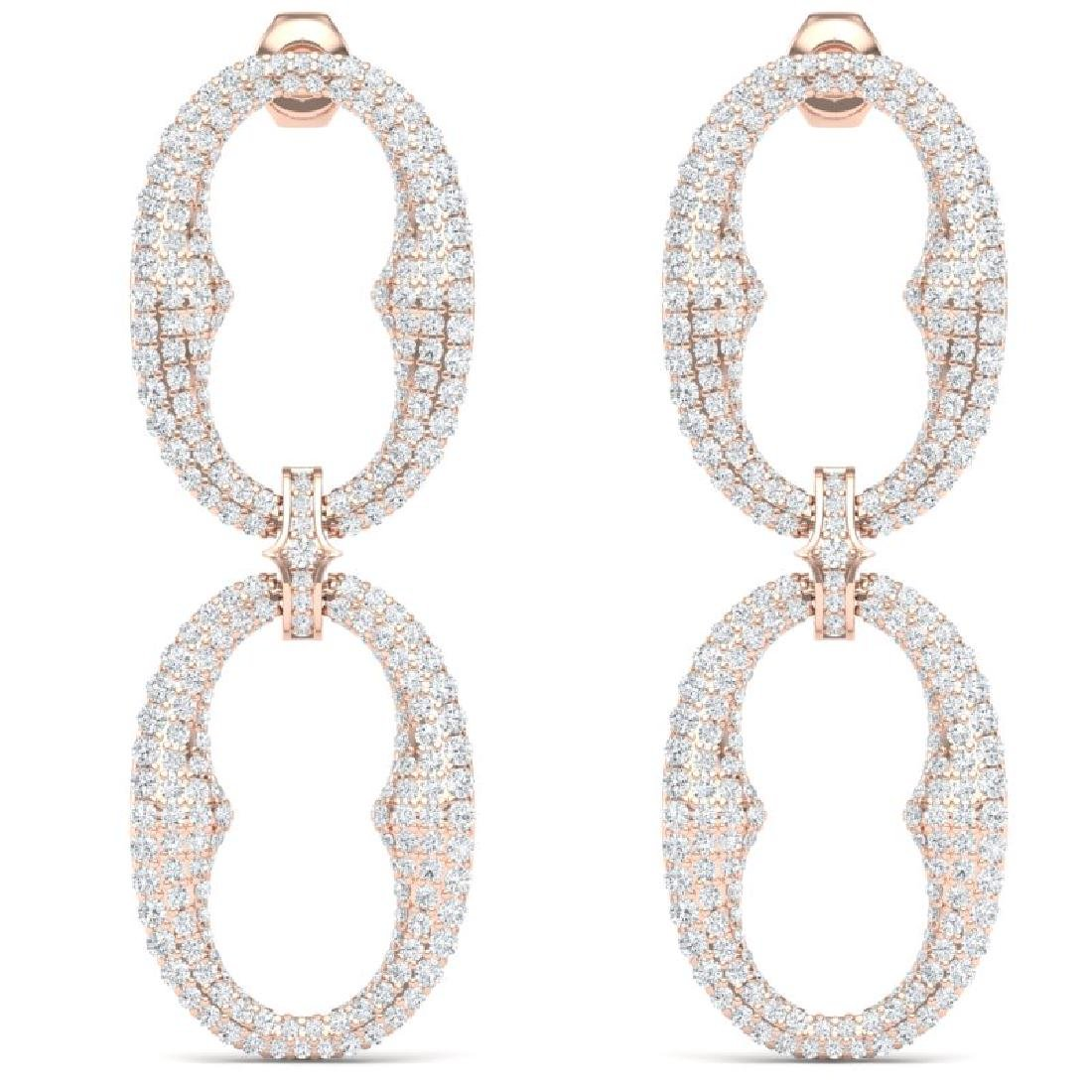7 CTW Certified VS/SI Diamond Earrings 18K Rose Gold - 3