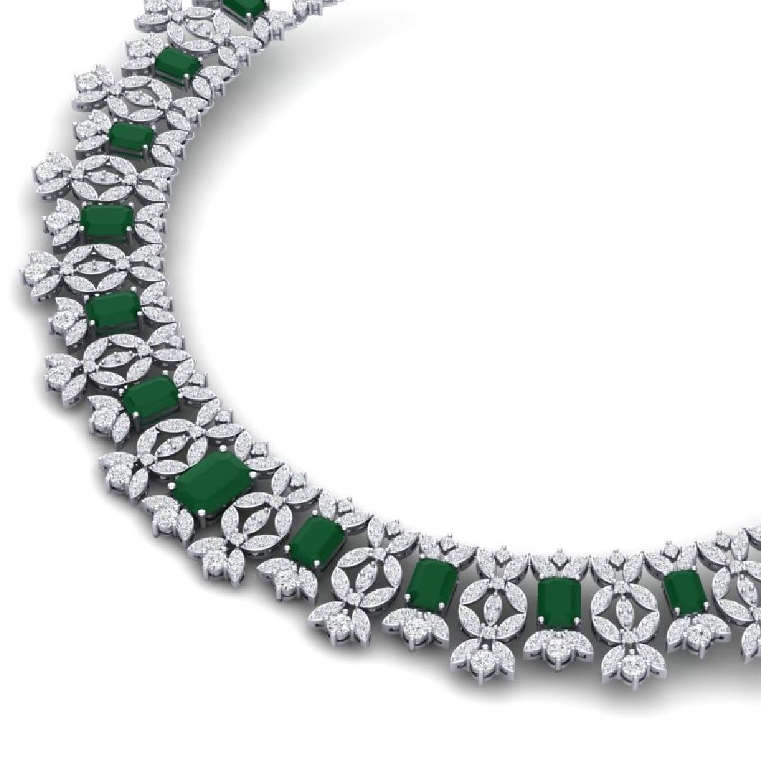 50.44 CTW Royalty Emerald & VS Diamond Necklace 18K - 2