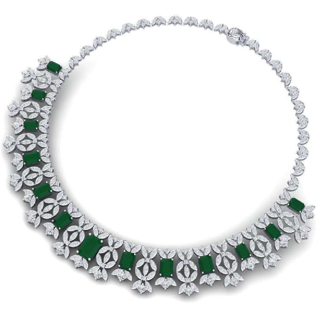 50.44 CTW Royalty Emerald & VS Diamond Necklace 18K - 3