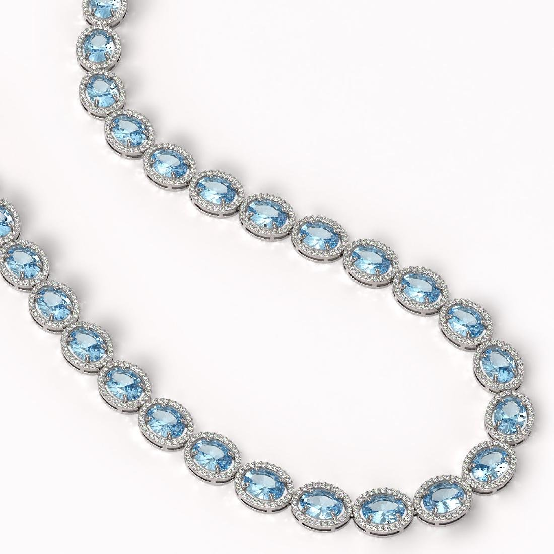 54.11 CTW Aquamarine & Diamond Halo Necklace 10K White - 2