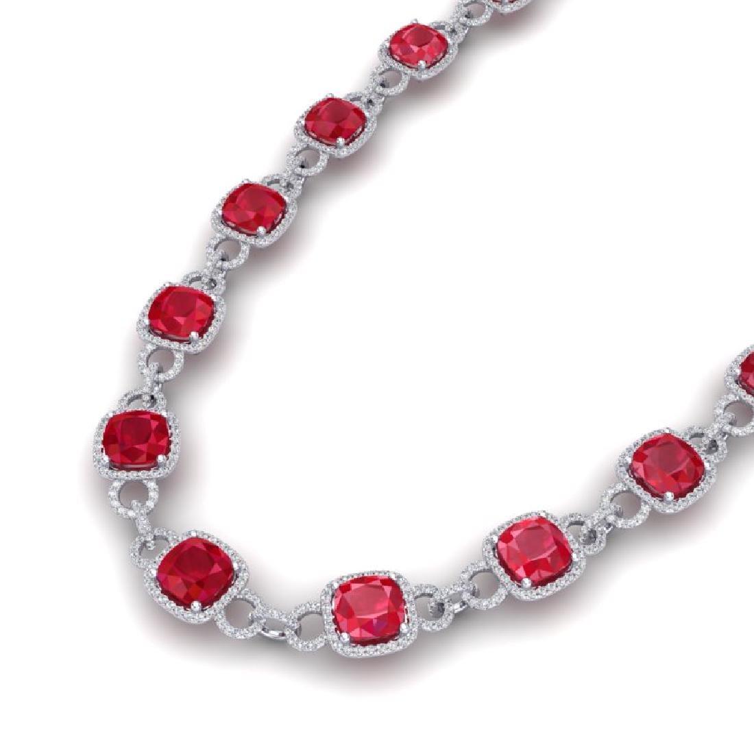 56 CTW Ruby & VS/SI Diamond Necklace 14K White Gold