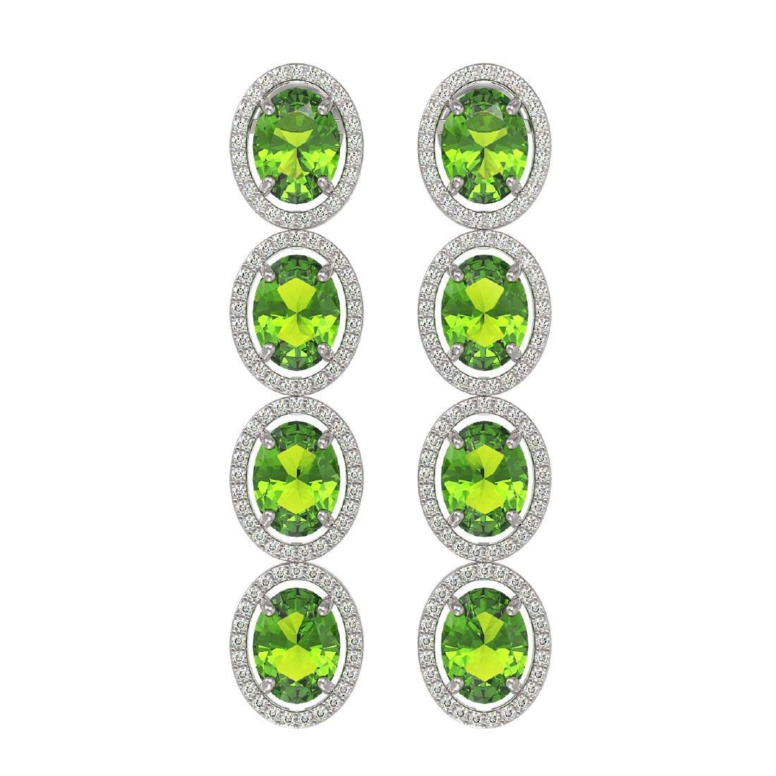 14.04 CTW Peridot & Diamond Halo Earrings 10K White