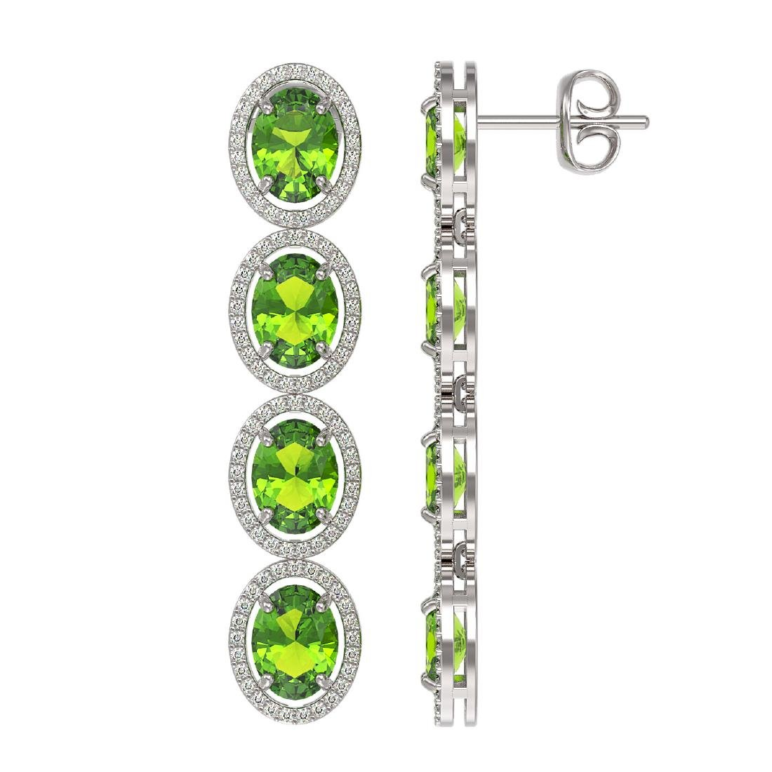 14.04 CTW Peridot & Diamond Halo Earrings 10K White - 2