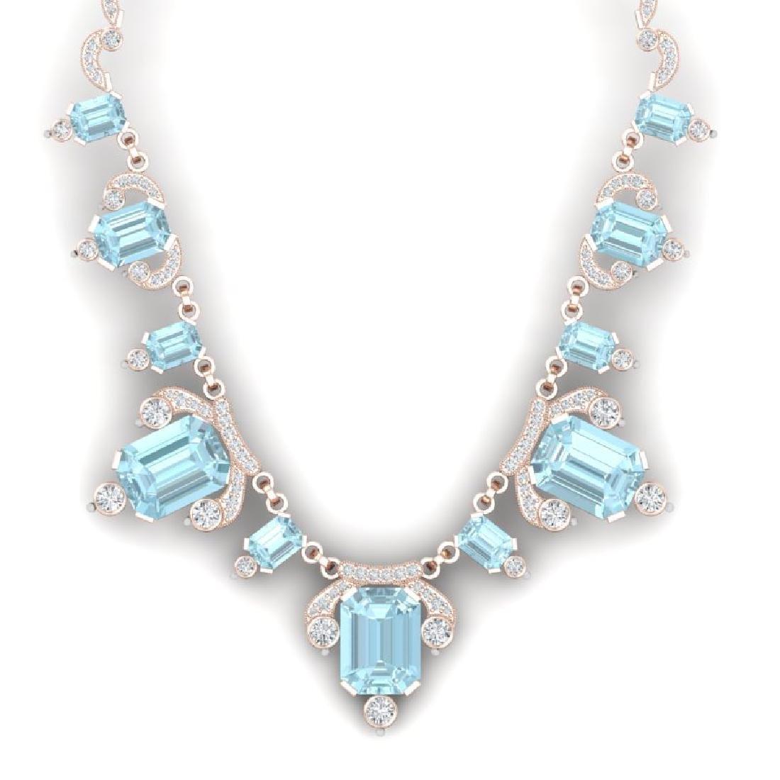 79.56 CTW Royalty Sky Topaz & VS Diamond Necklace 18K