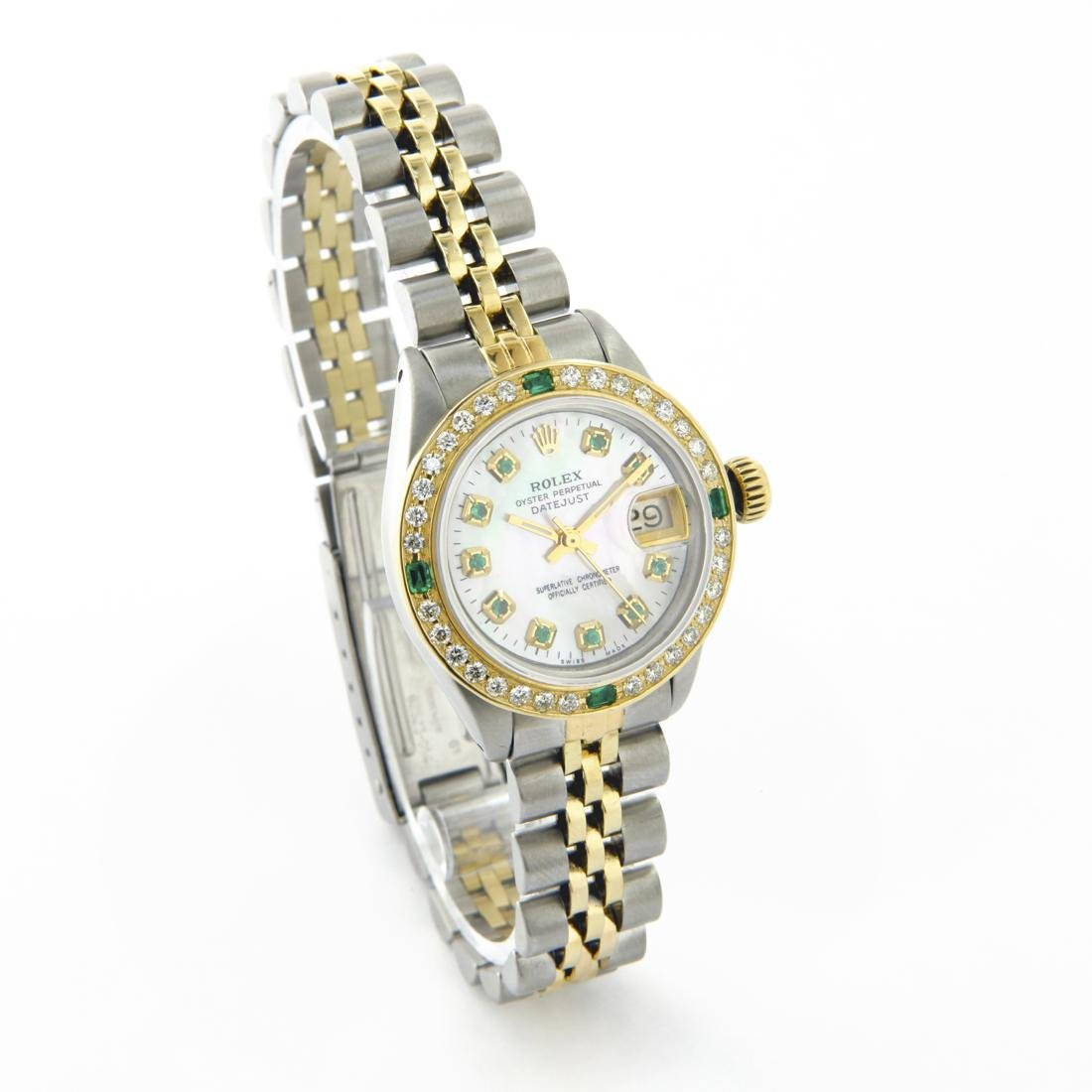 Rolex Ladies Two Tone 14K Gold/SS, Diam/Emerald Dial & - 3