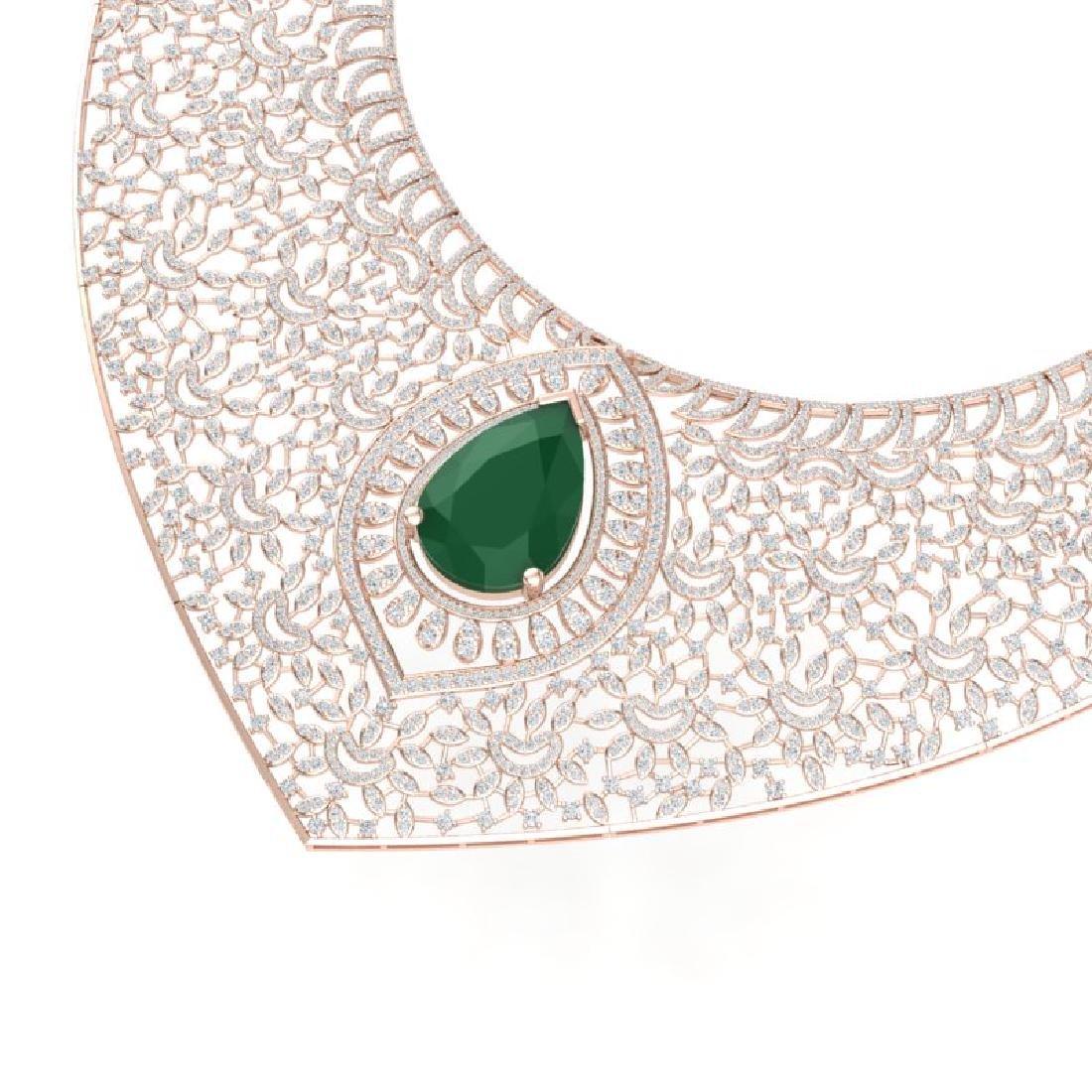 63.93 CTW Royalty Emerald & VS Diamond Necklace 18K