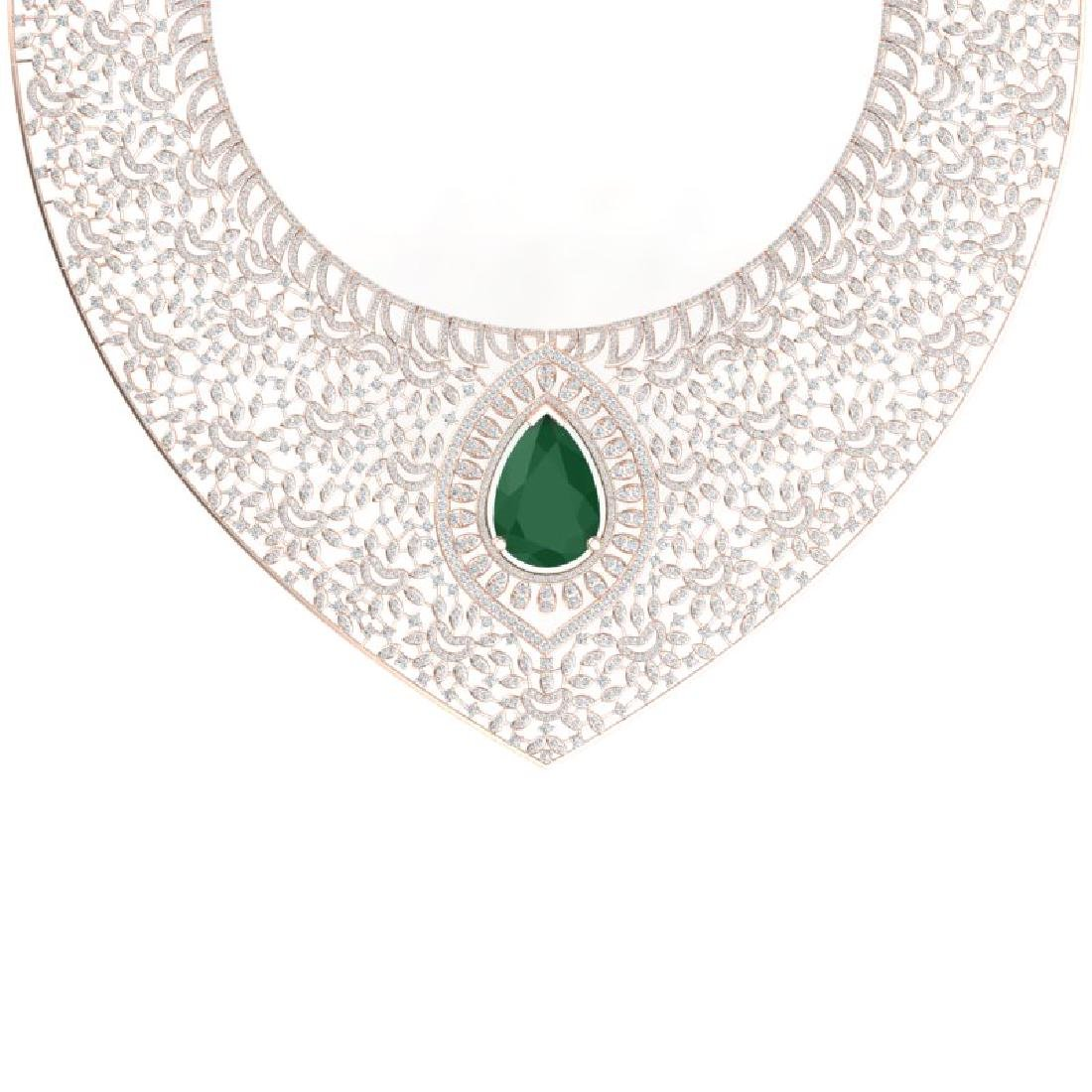 63.93 CTW Royalty Emerald & VS Diamond Necklace 18K - 2