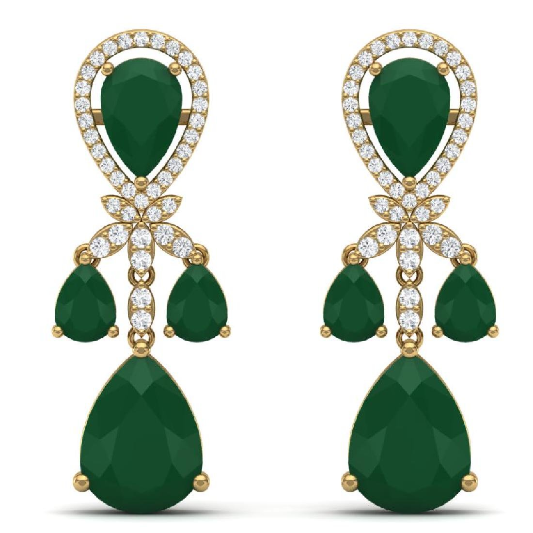 38.29 CTW Royalty Emerald & VS Diamond Earrings 18K