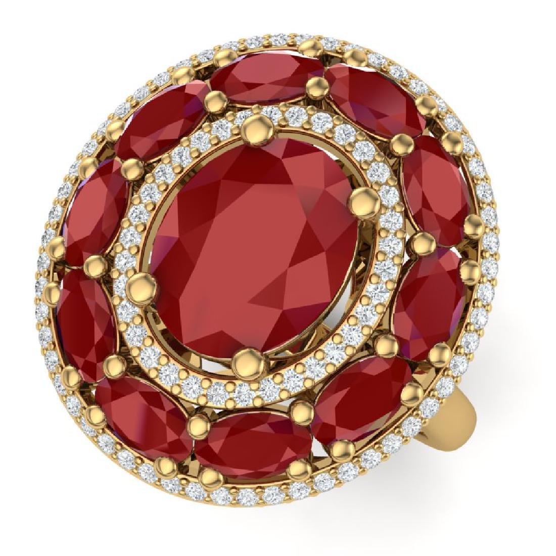 8.05 CTW Royalty Designer Ruby & VS Diamond Ring 18K