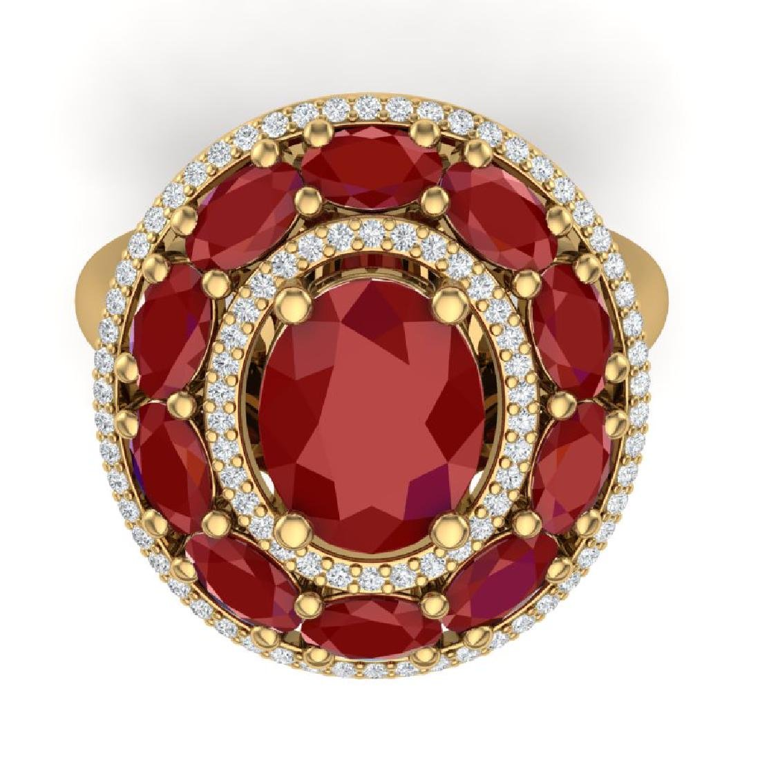 8.05 CTW Royalty Designer Ruby & VS Diamond Ring 18K - 2