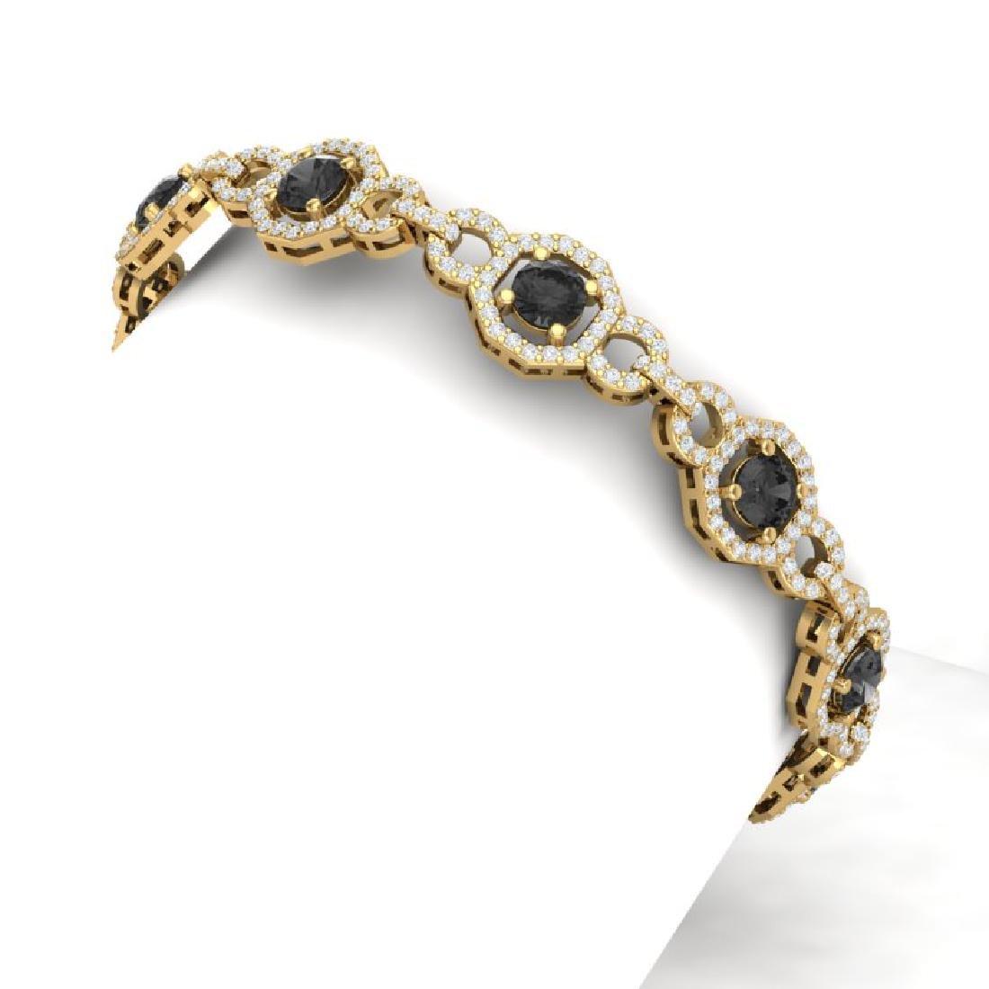 12 CTW Black And White Diamond Bracelet 18K Yellow Gold