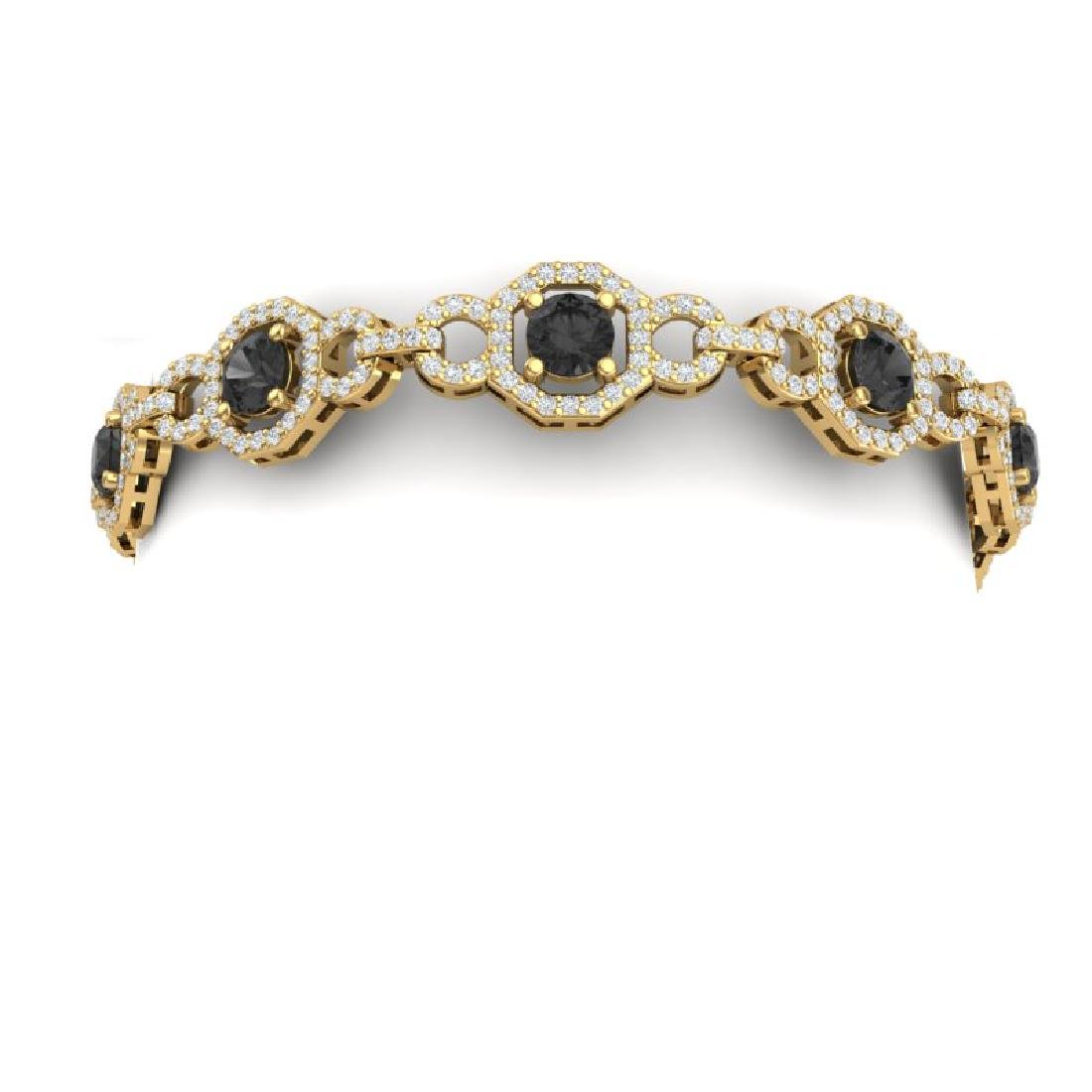 12 CTW Black And White Diamond Bracelet 18K Yellow Gold - 2