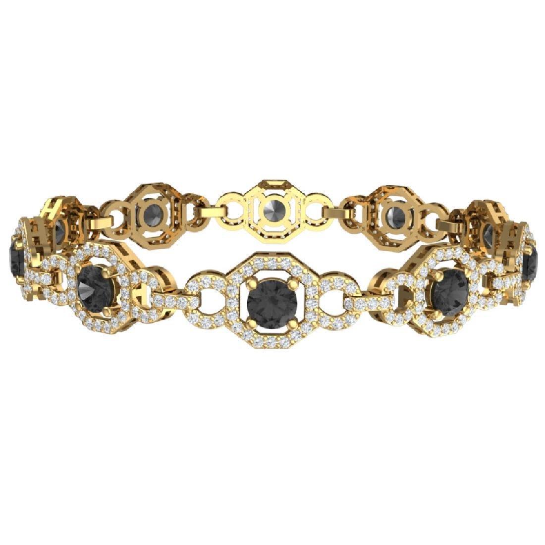 12 CTW Black And White Diamond Bracelet 18K Yellow Gold - 3