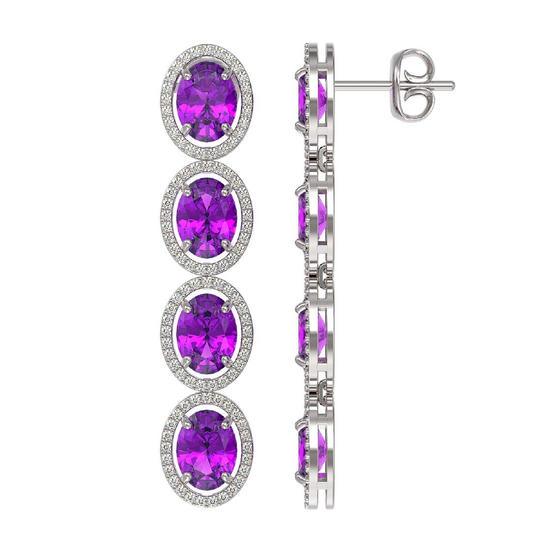 12.36 CTW Amethyst & Diamond Halo Earrings 10K White - 2