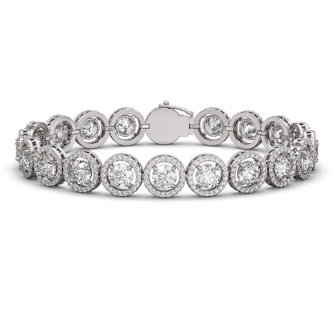 15.36 CTW Diamond Designer Bracelet 18K White Gold