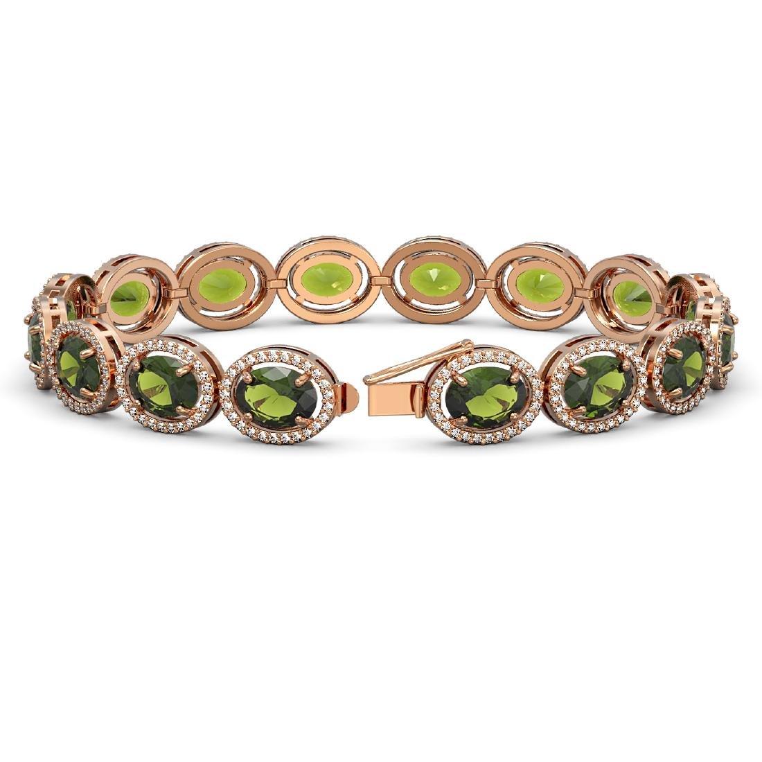 23.6 CTW Tourmaline & Diamond Halo Bracelet 10K Rose - 2