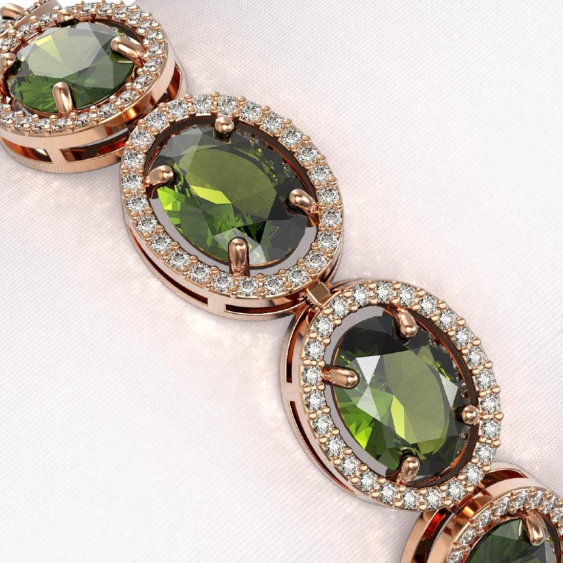 23.6 CTW Tourmaline & Diamond Halo Bracelet 10K Rose - 3
