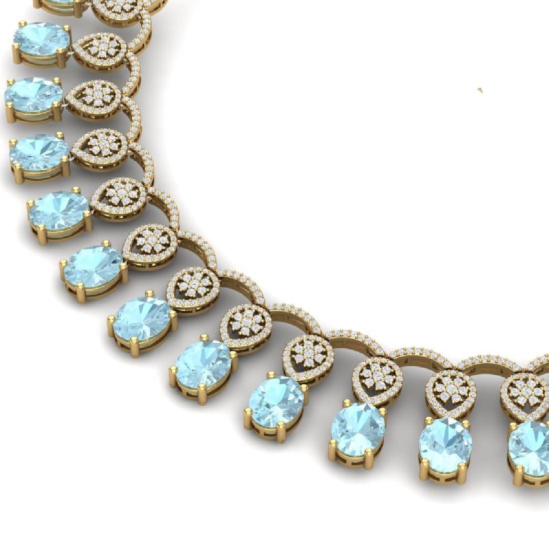 55.35 CTW Royalty Sky Topaz & VS Diamond Necklace 18K