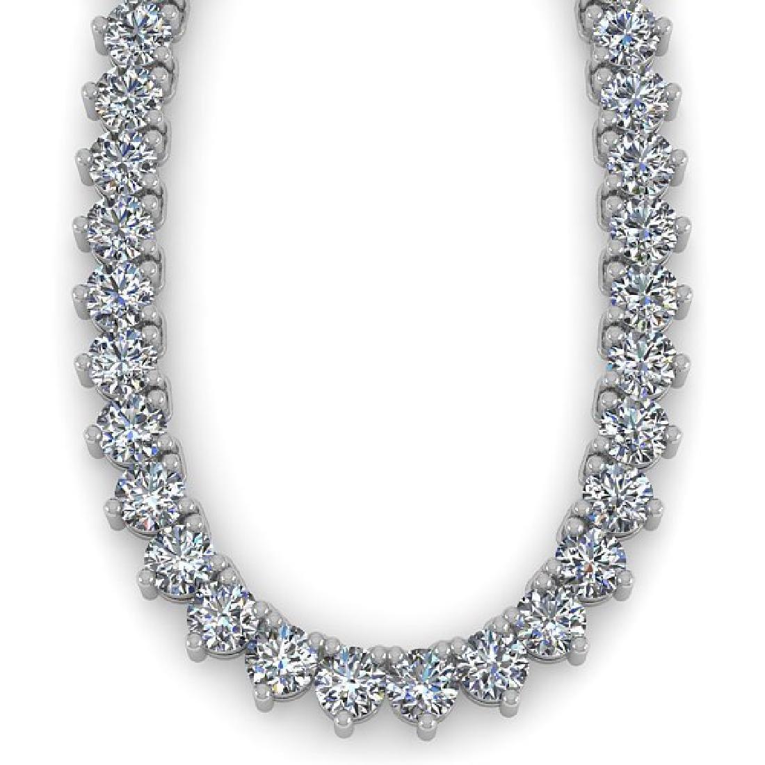 48 CTW Solitaire SI Diamond Necklace 14K White Gold - 2