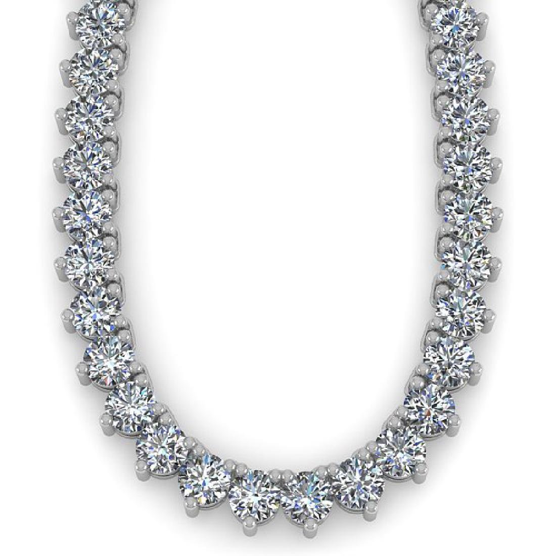 48 CTW Solitaire SI Diamond Necklace 14K White Gold - 2