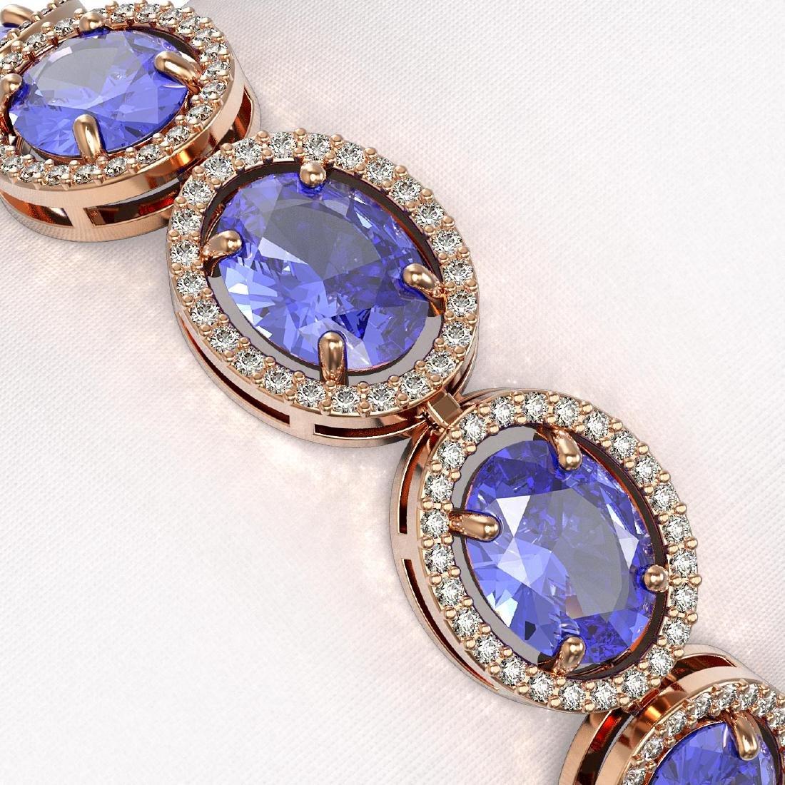 27.28 CTW Tanzanite & Diamond Halo Bracelet 10K Rose - 3