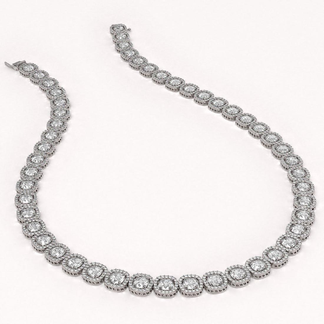 37.60 CTW Cushion Diamond Designer Necklace 18K White - 2