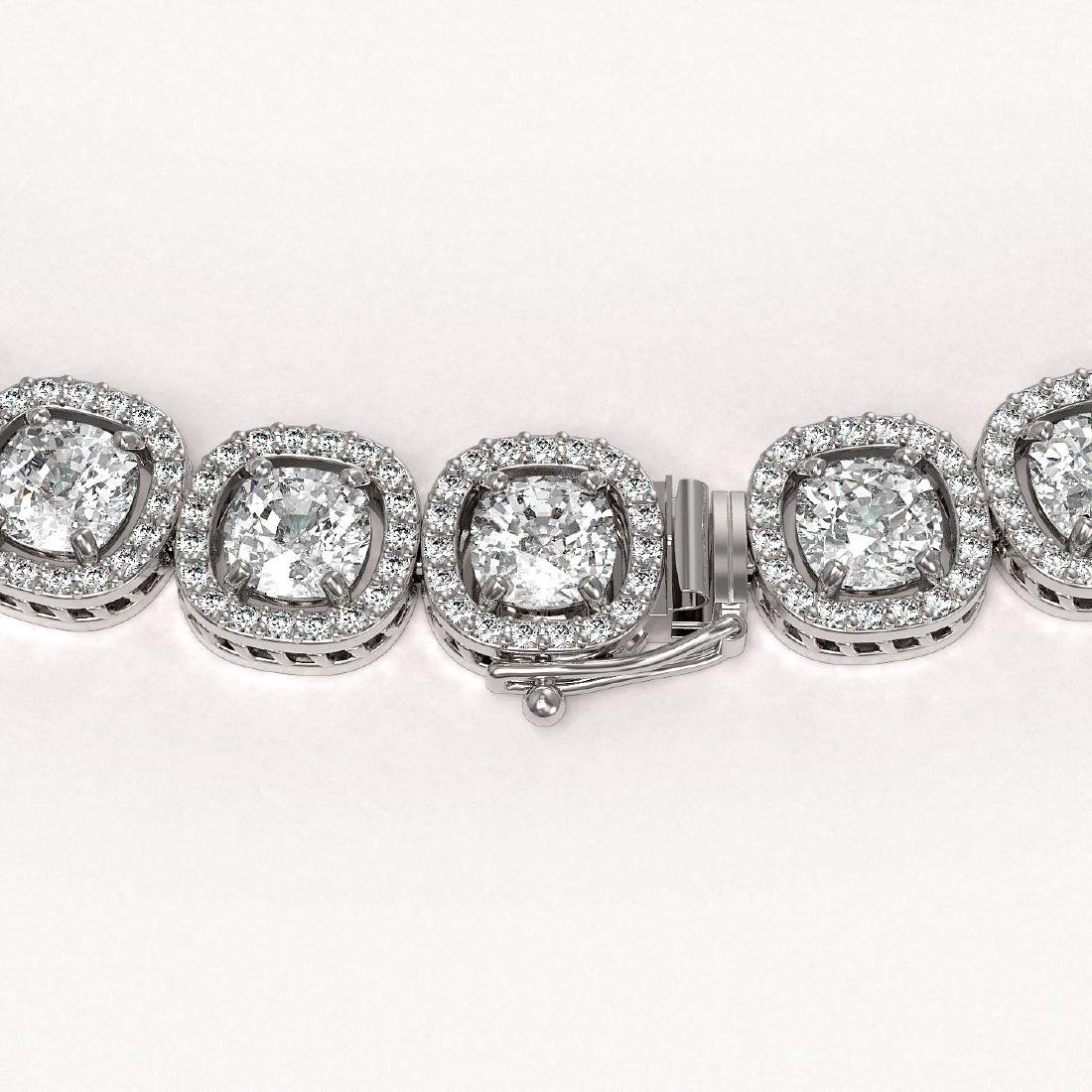 37.60 CTW Cushion Diamond Designer Necklace 18K White - 3