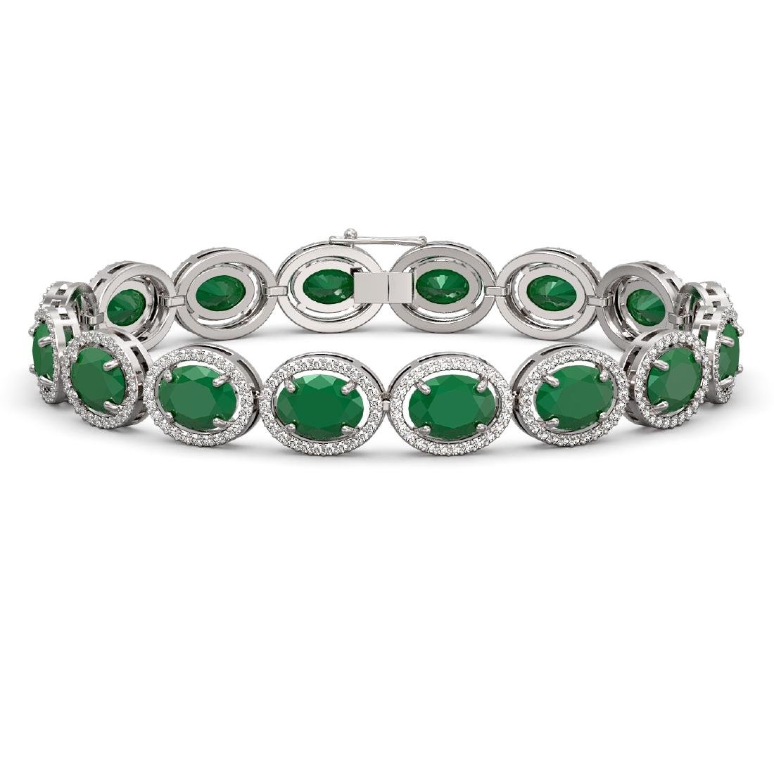31.79 CTW Emerald & Diamond Halo Bracelet 10K White