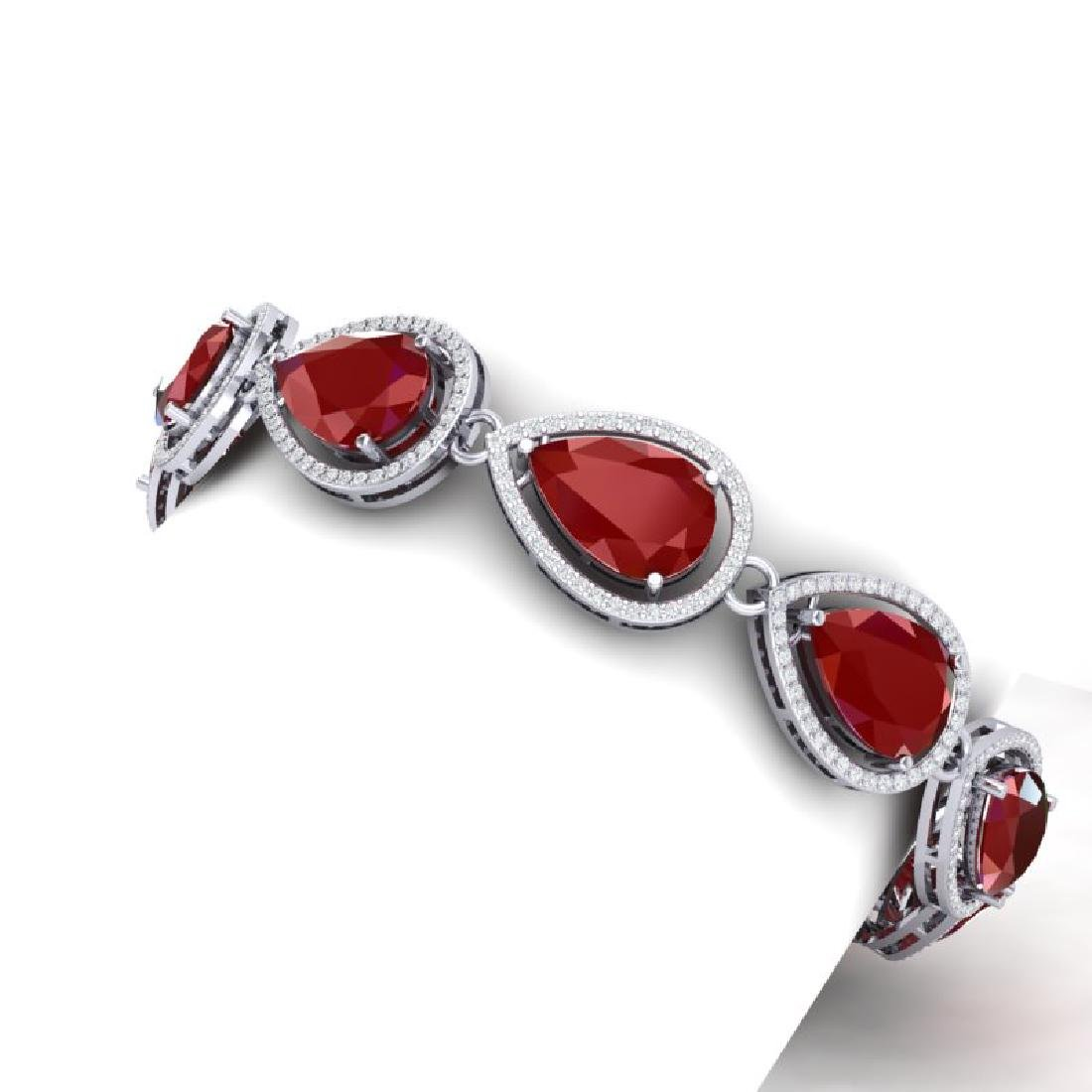 28.31 CTW Royalty Ruby & VS Diamond Bracelet 18K White - 2
