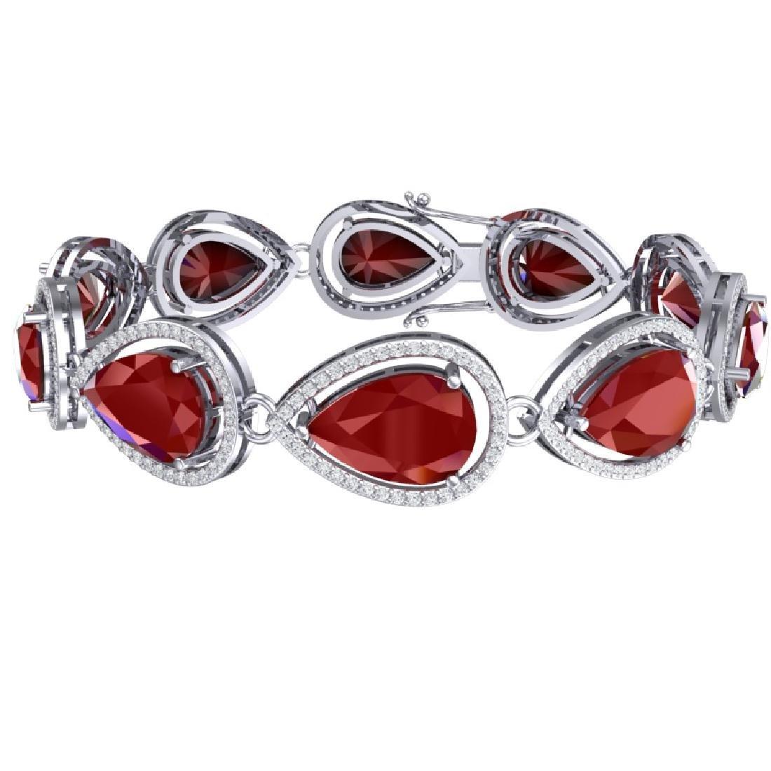 28.31 CTW Royalty Ruby & VS Diamond Bracelet 18K White - 3