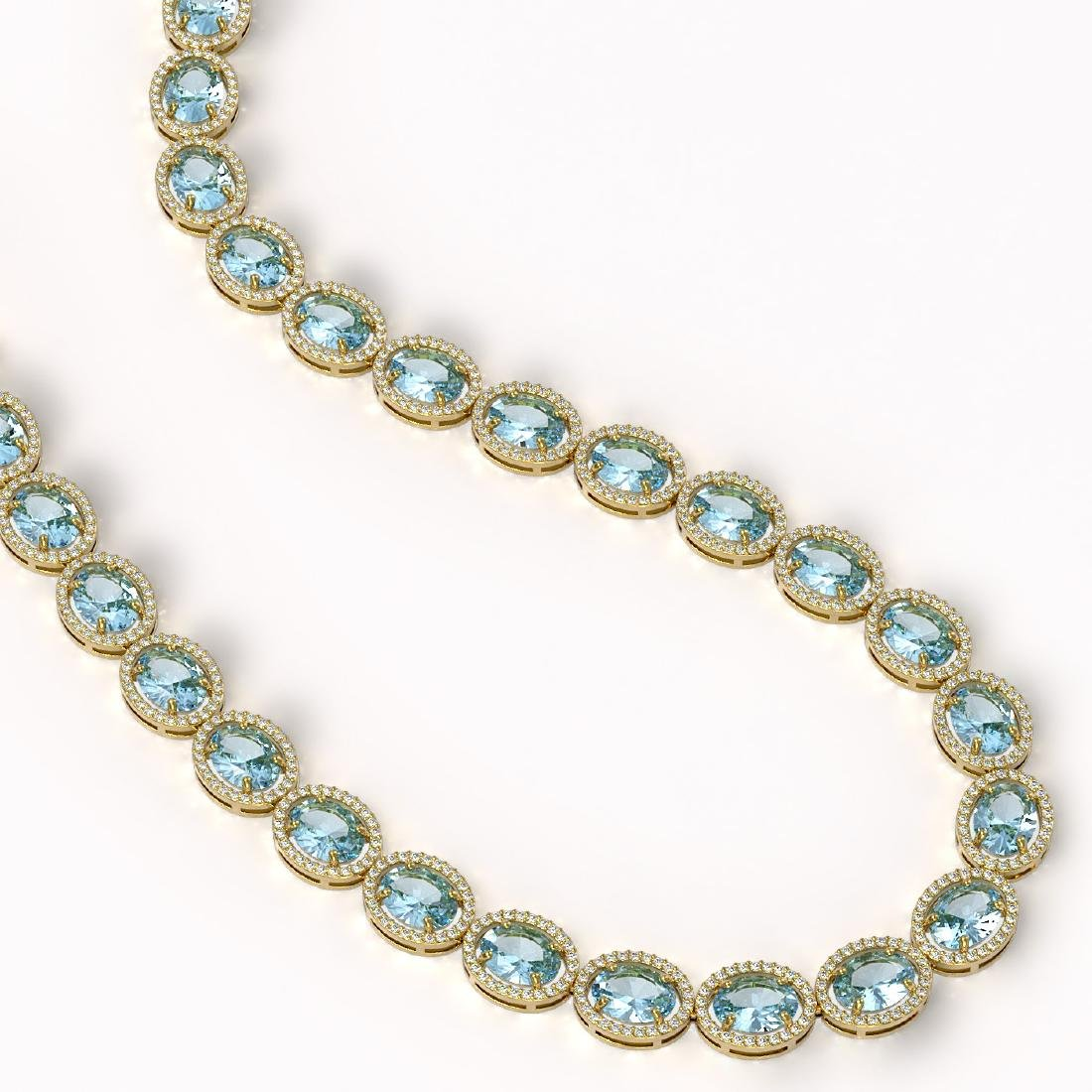 68.17 CTW Sky Topaz & Diamond Halo Necklace 10K Yellow - 2