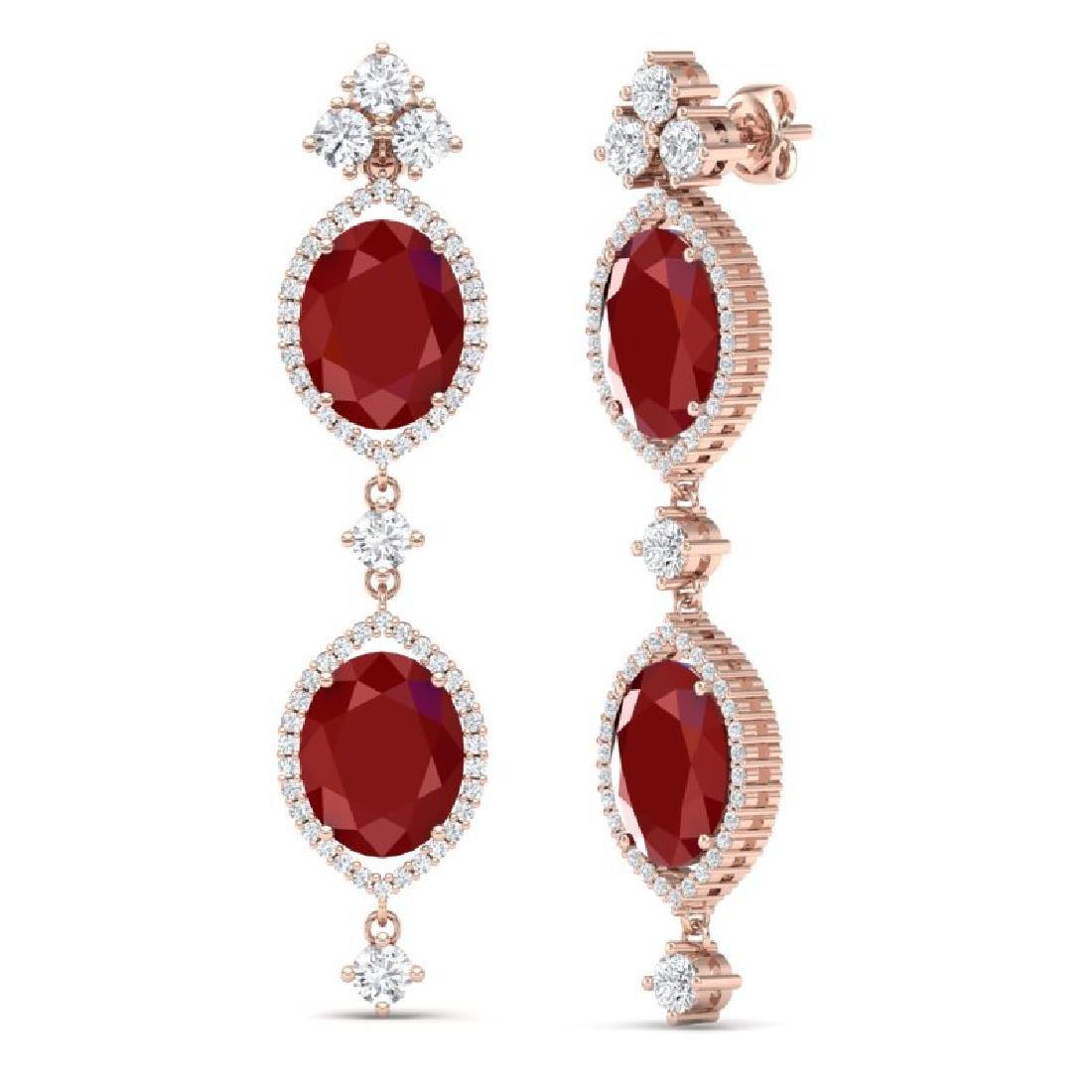 15.81 CTW Royalty Designer Ruby & VS Diamond Earrings - 2