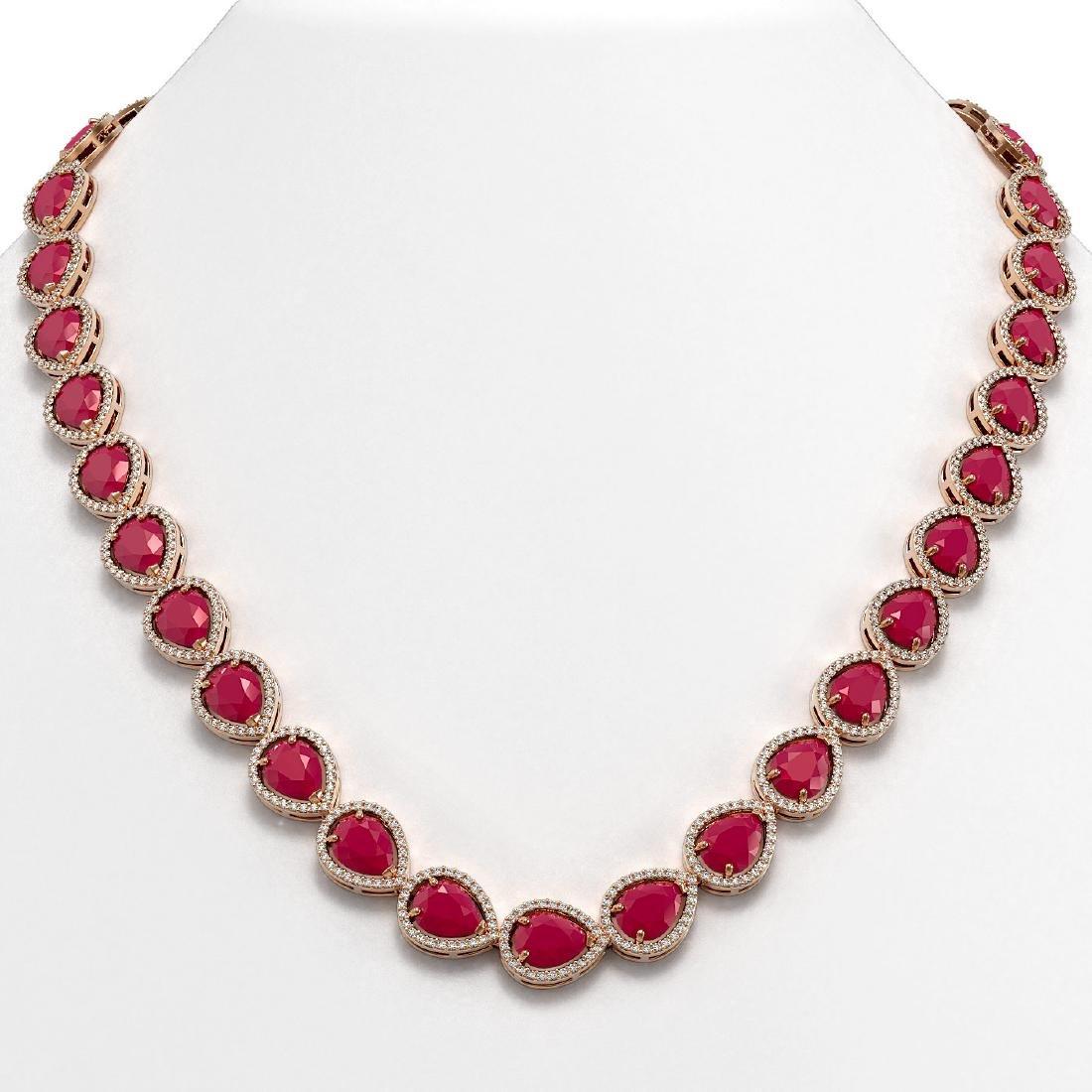 64.01 CTW Ruby & Diamond Halo Necklace 10K Rose Gold