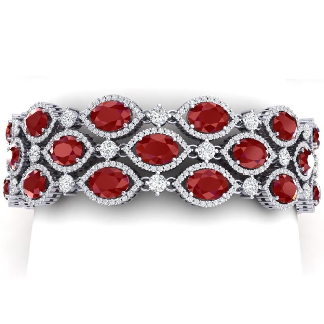 47.84 CTW Royalty Ruby & VS Diamond Bracelet 18K White
