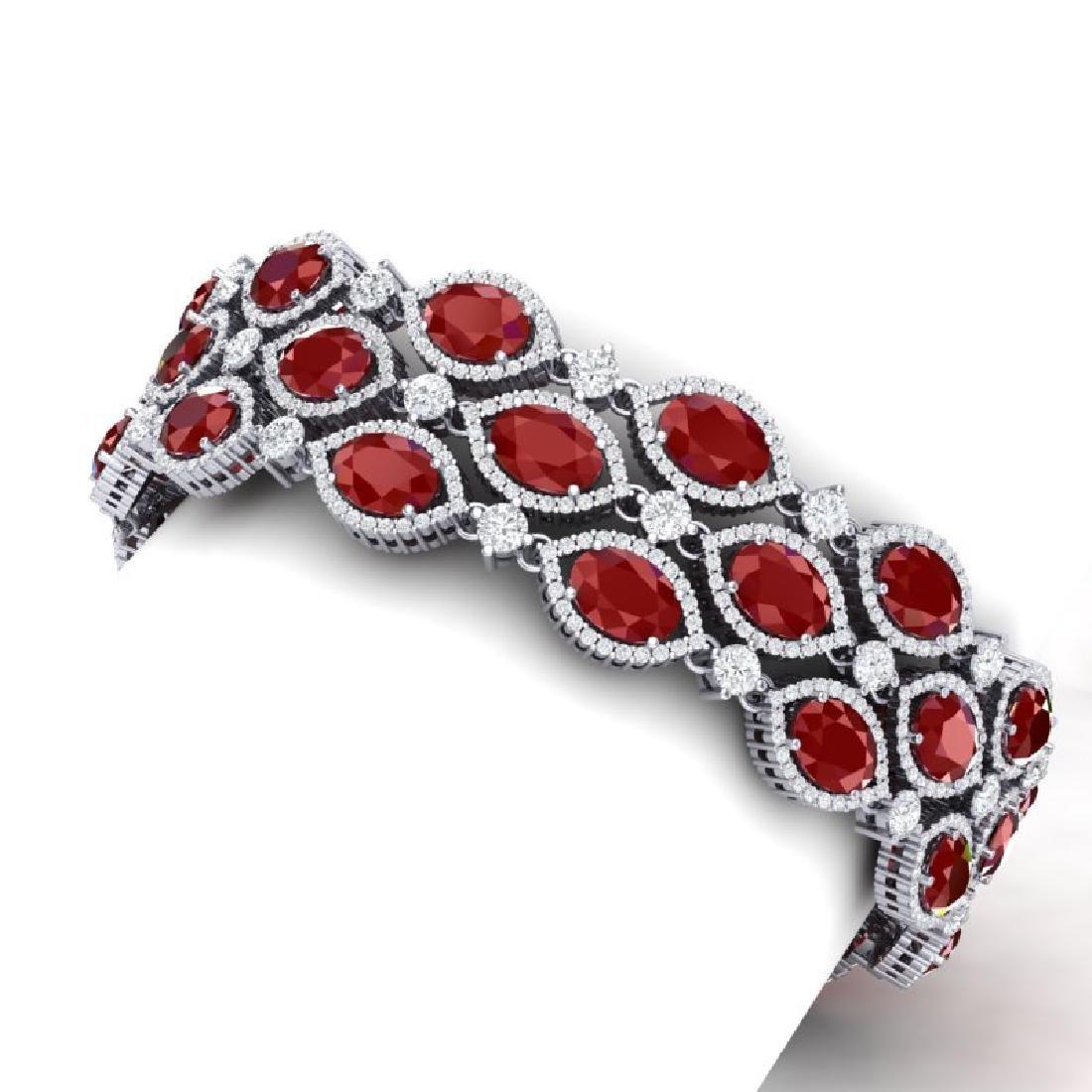 47.84 CTW Royalty Ruby & VS Diamond Bracelet 18K White - 2