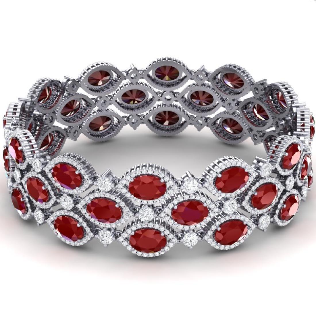 47.84 CTW Royalty Ruby & VS Diamond Bracelet 18K White - 3