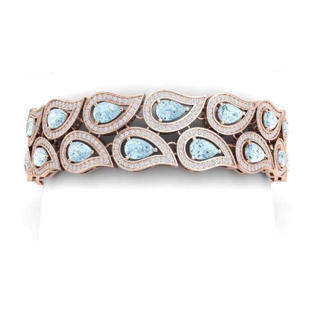 19.62 CTW Royalty Sky Topaz & VS Diamond Bracelet 18K