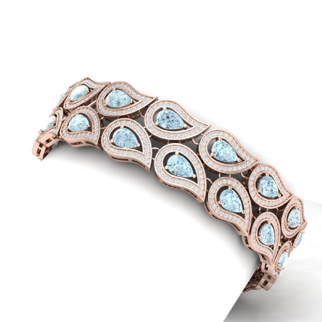 19.62 CTW Royalty Sky Topaz & VS Diamond Bracelet 18K - 2