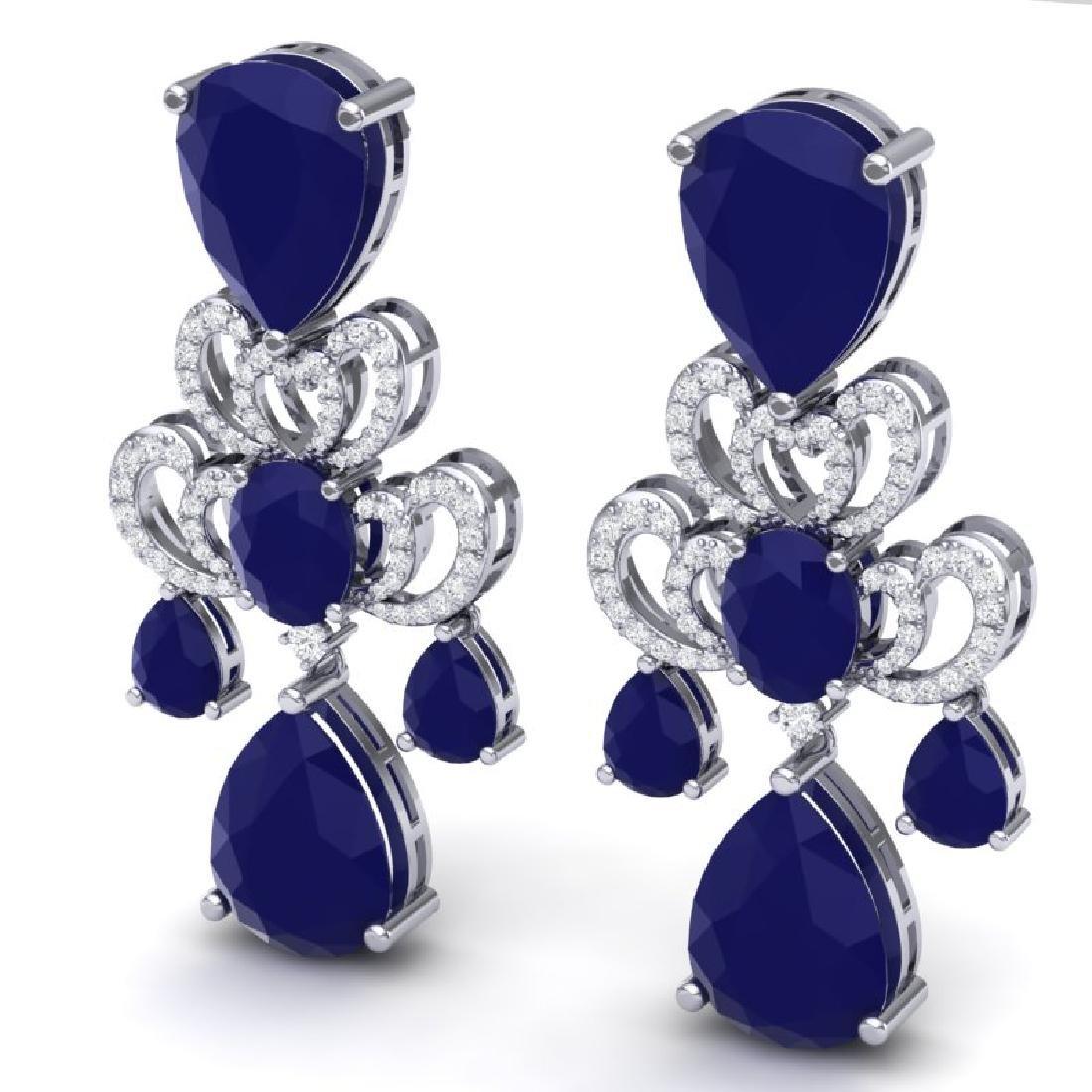 58.73 CTW Royalty Sapphire & VS Diamond Earrings 18K - 2