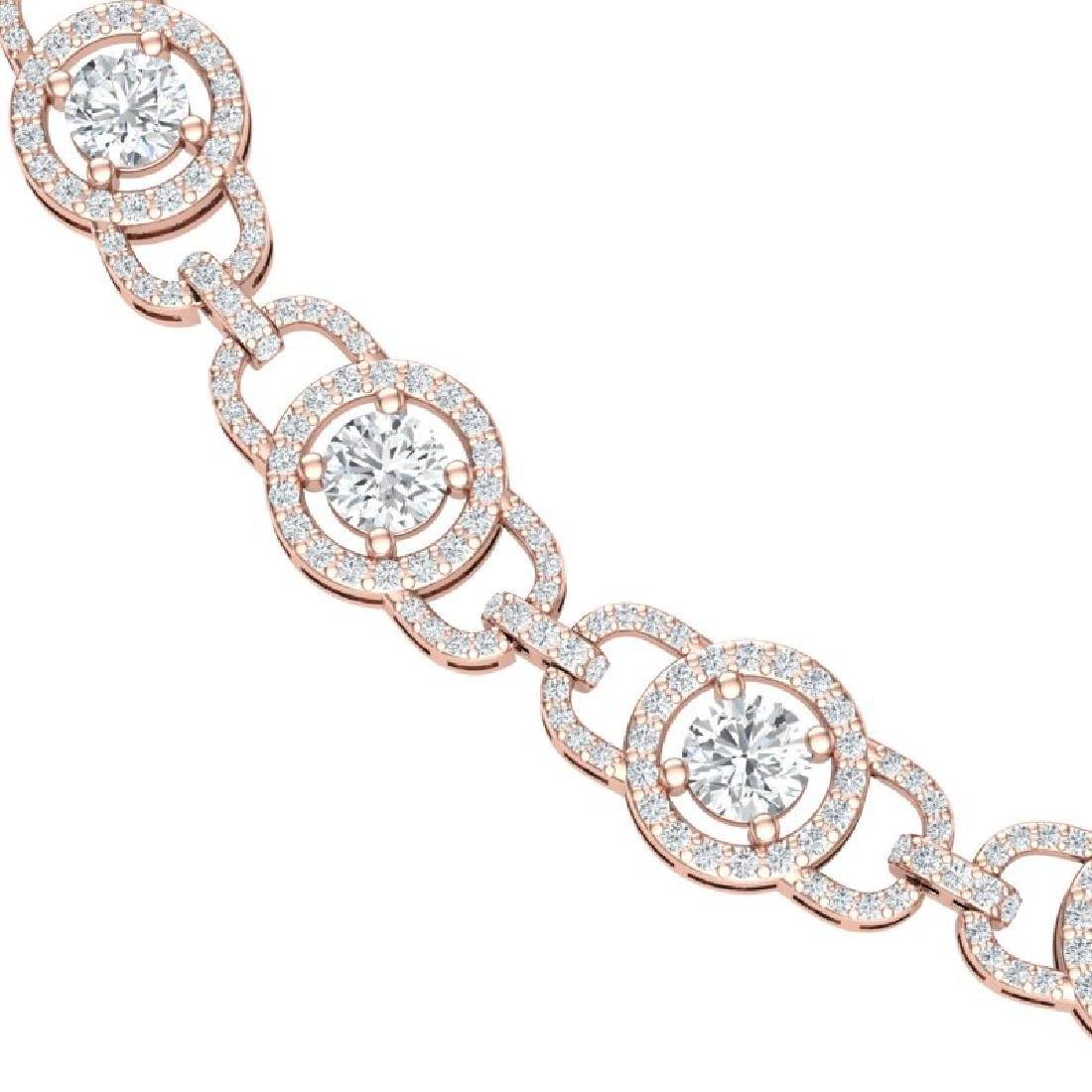 25 CTW Certified SI/I Diamond Halo Necklace 18K Rose