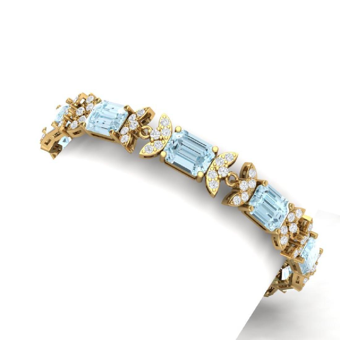 39.65 CTW Royalty Sky Topaz & VS Diamond Bracelet 18K - 2