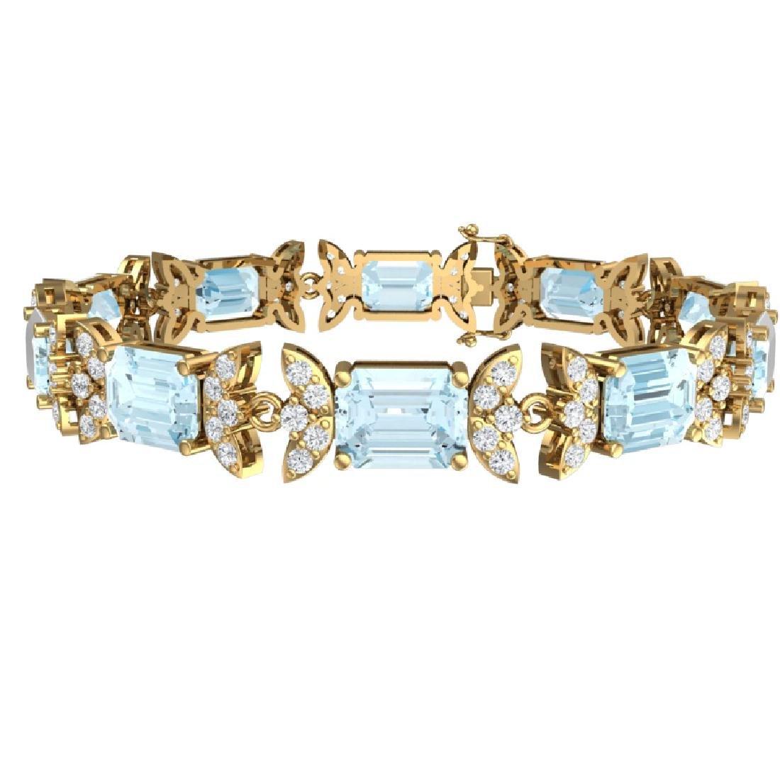 39.65 CTW Royalty Sky Topaz & VS Diamond Bracelet 18K - 3