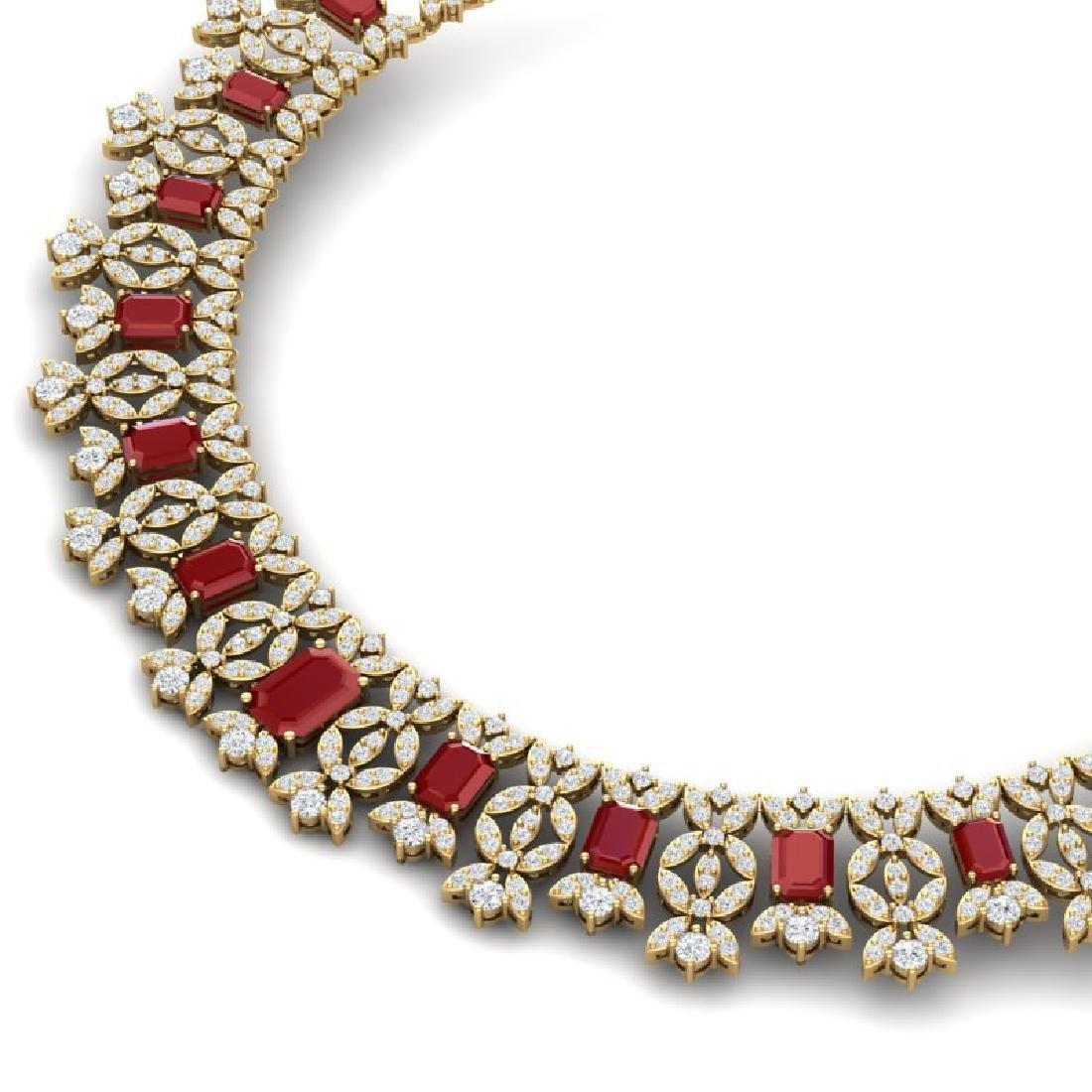 50.44 CTW Royalty Ruby & VS Diamond Necklace 18K Yellow