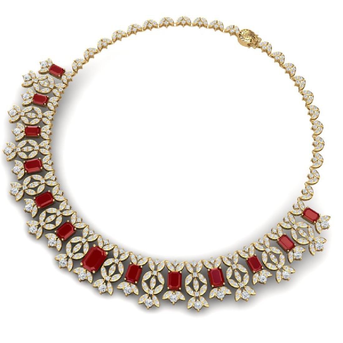 50.44 CTW Royalty Ruby & VS Diamond Necklace 18K Yellow - 2