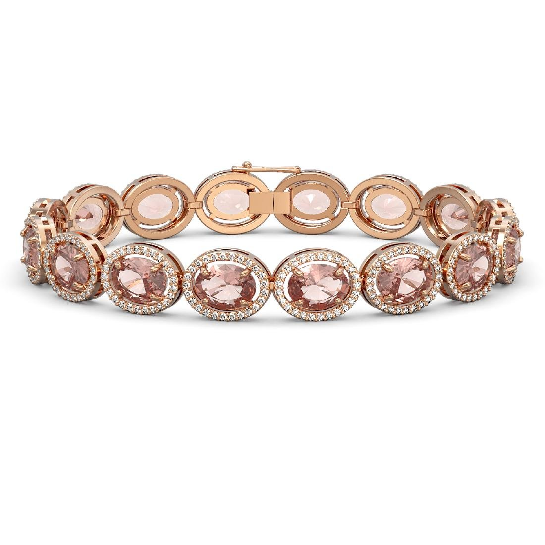 22.8 CTW Morganite & Diamond Halo Bracelet 10K Rose