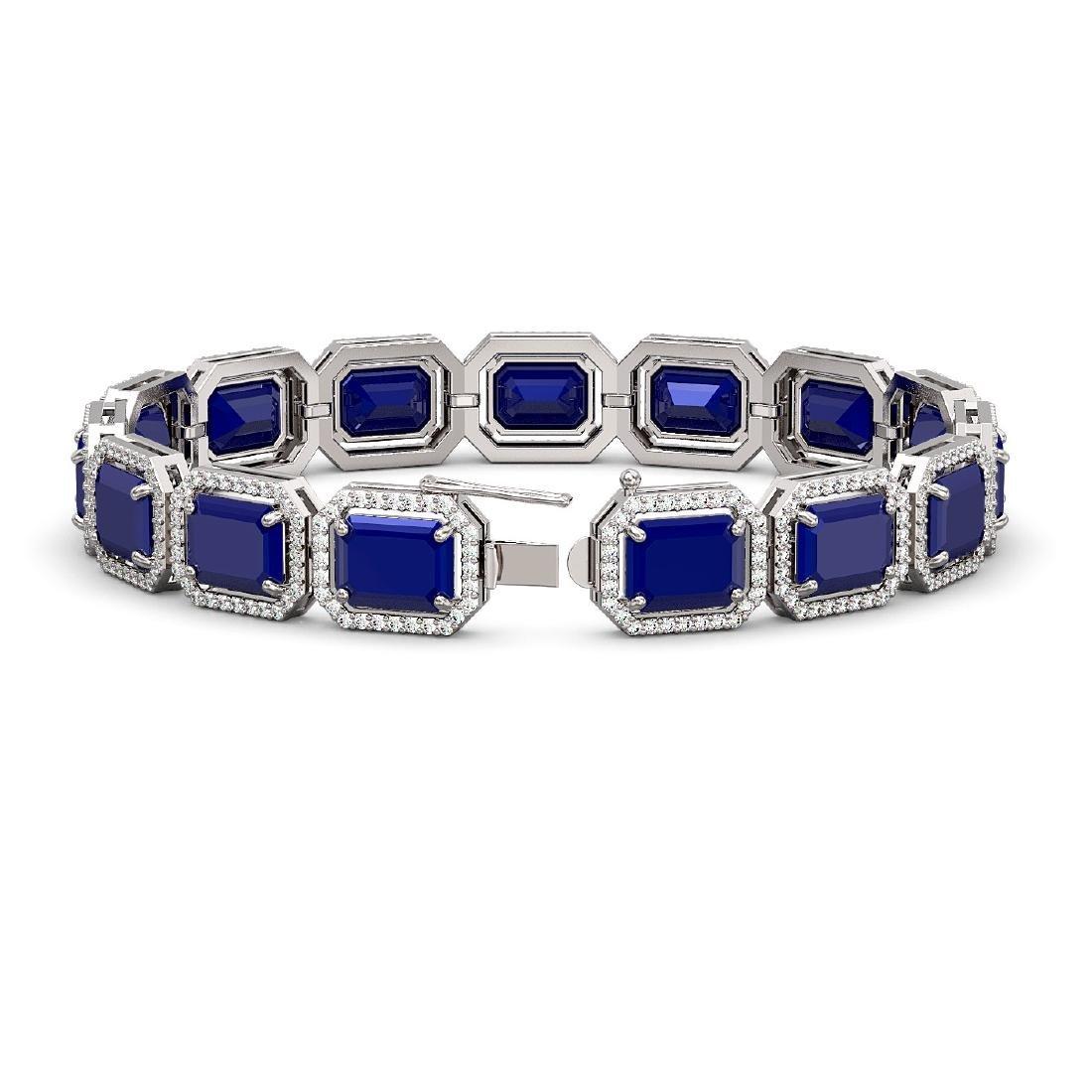 38.61 CTW Sapphire & Diamond Halo Bracelet 10K White - 2